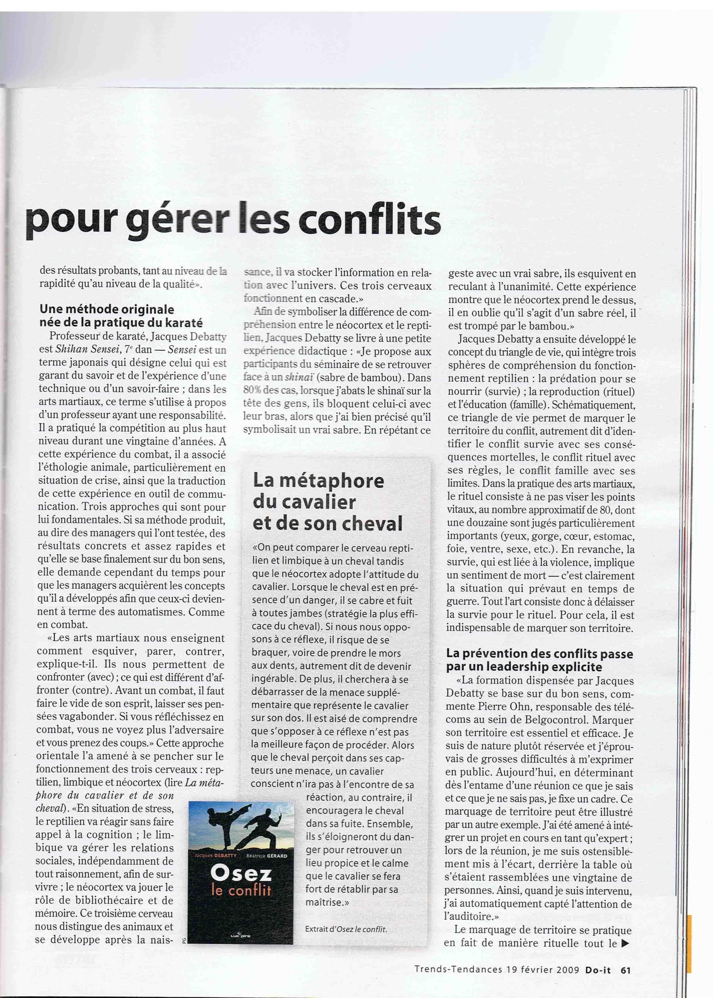 Article Trend Oser le conflit Shihan Sensei JKY Debatty