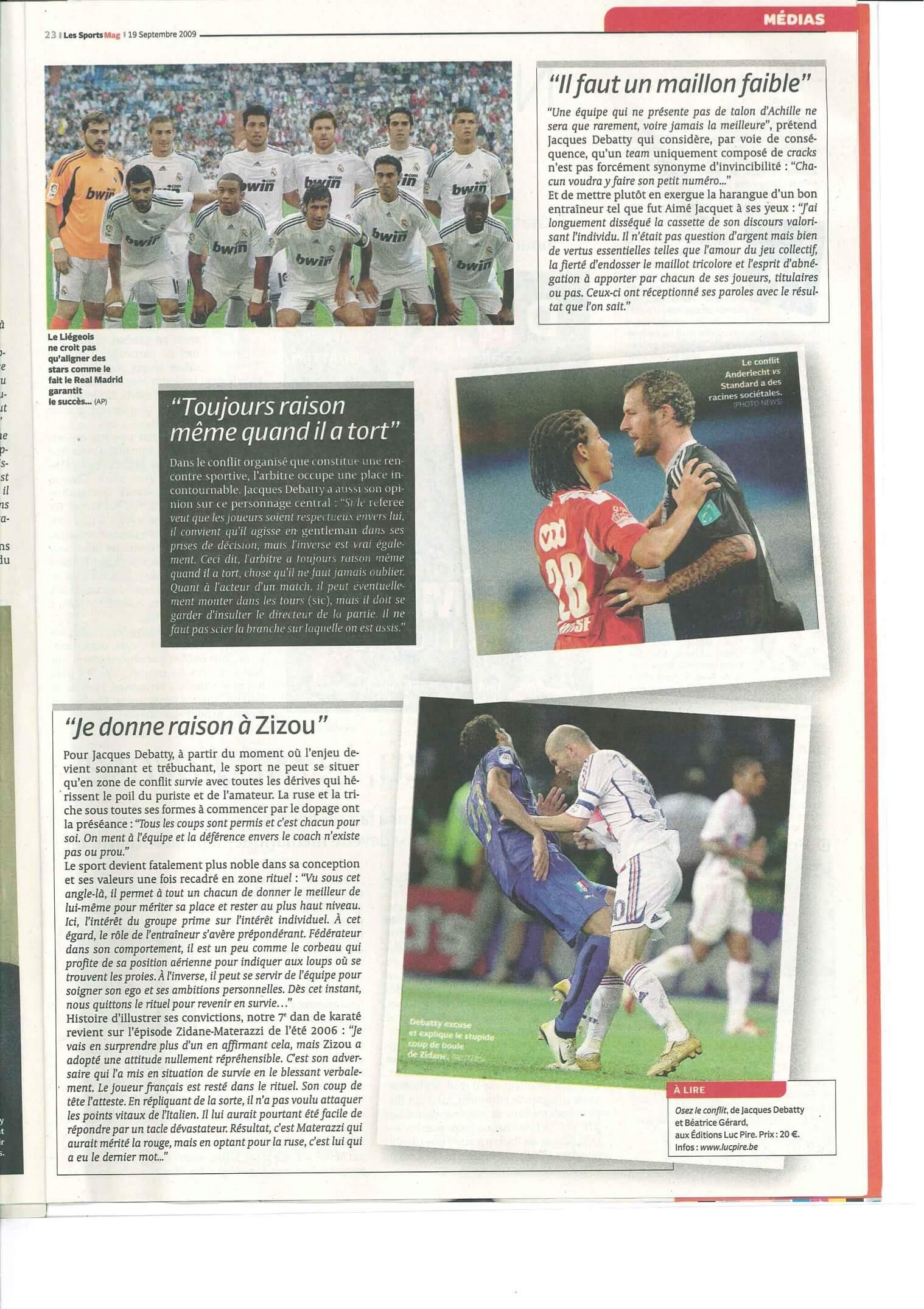 Article de presse Les sports mag sur Shihan Sensei JKY Debatty